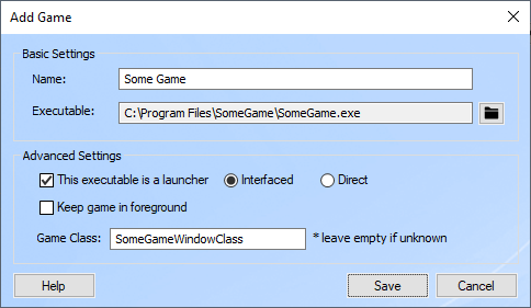 Unsupported Games Options